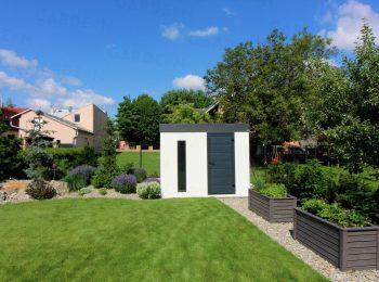 GARDEON Gartenhaus in weiß mit Zubehör in anthrazit
