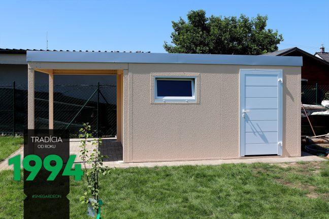 Design Gartenhaus von GARDEON inkl. Überdachung, die Attika in der Farbe weißes Aluminium
