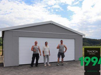 Graue GARDEON Garage mit Satteldach
