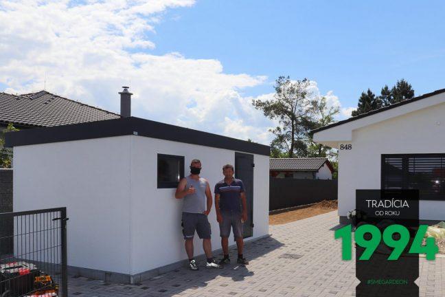 Neue moderne GARDEON Gartenhütte direkt nach Montage