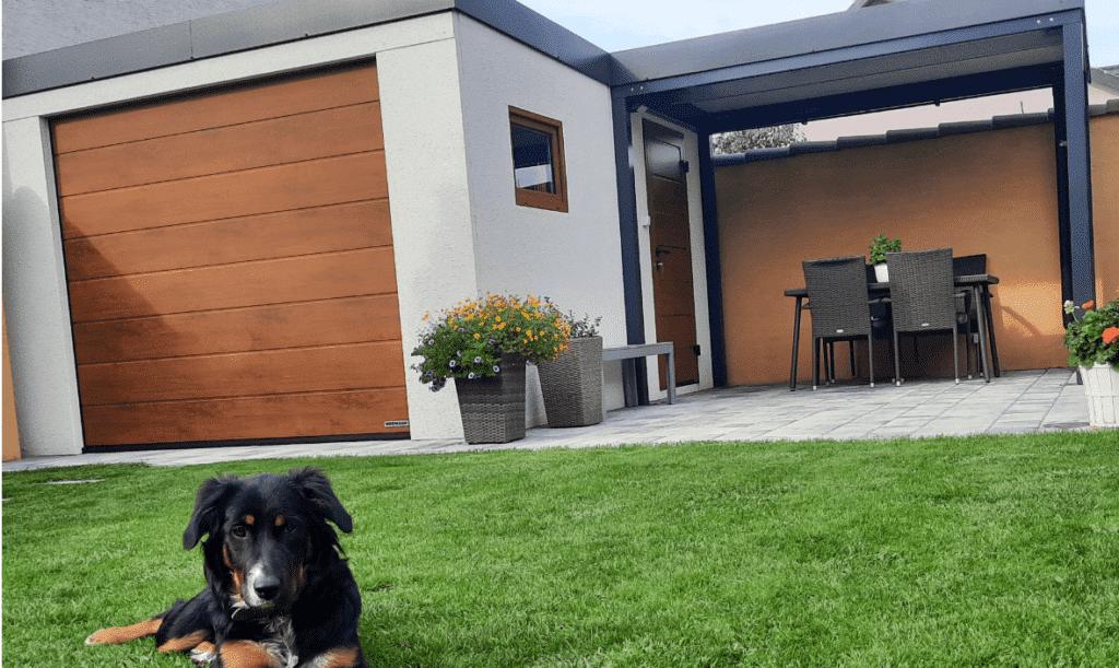 Der Hund unseres Kunden vor dem neuen Gartenhaus