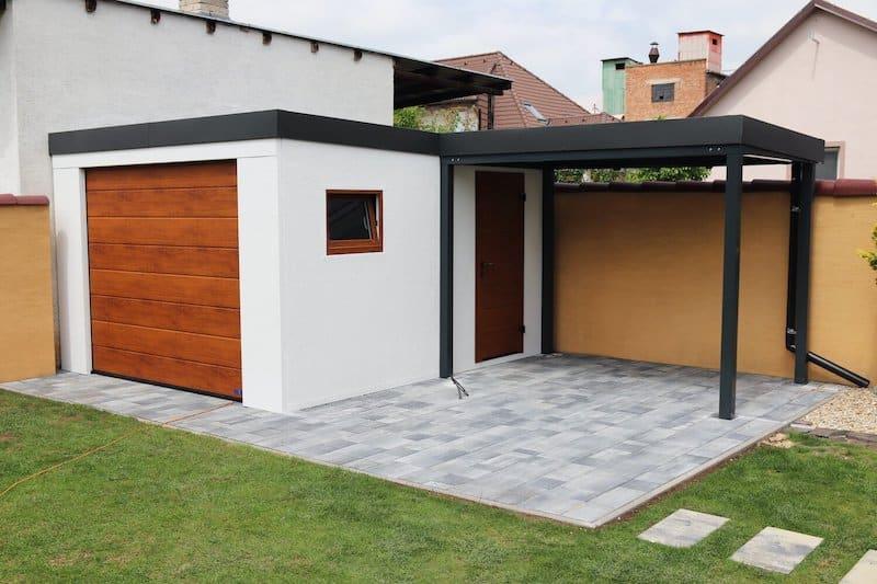 Gartenhaus ergänzt um ein Garagentor - GARDEON
