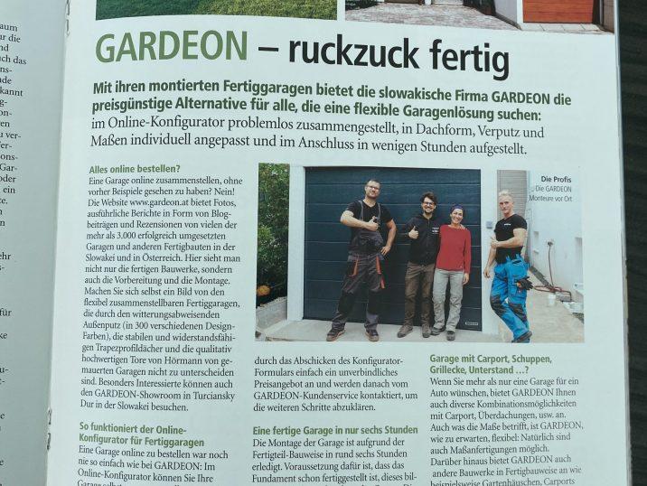 GARDEON Beitrag im Magazin Wohnträume