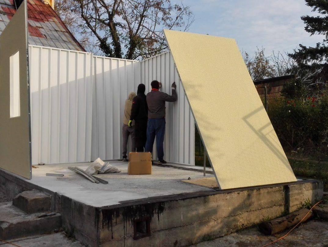 Der Aufbau der einzelnen Wände des Häuschens
