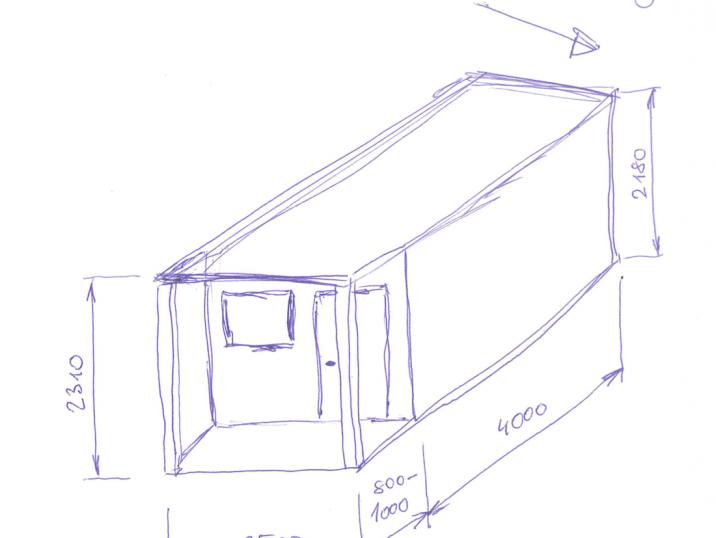 Skizze des geplanten Gartenhauses