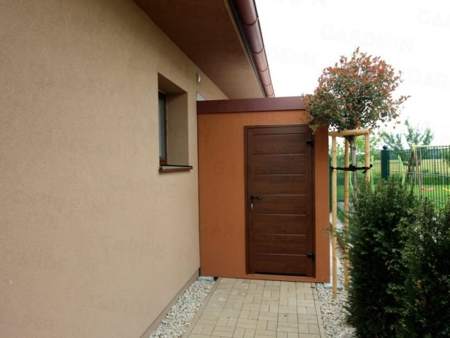 Kleines Gartenhaus von GARDEON mit braunem Putz