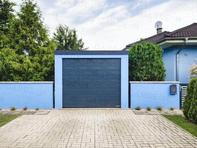 GARDEON Garage in hell-blau mit Zubehör in anthrazit