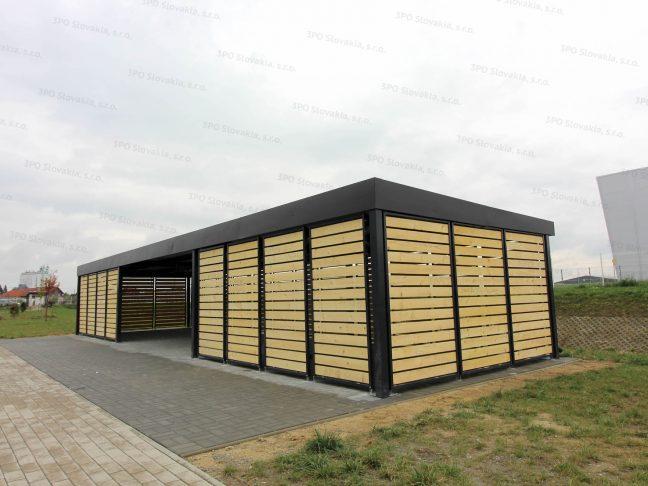 Eine Design-Überdachung für Raucher in anthrazit mit Wandausfüllungen aus Holz