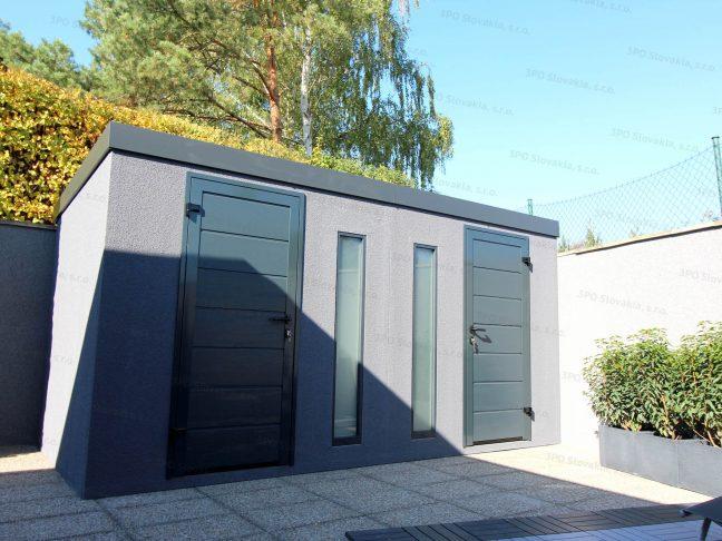 Ein doppeltes Gartenhaus in dunkel-grau mit LPU40 Türen von Hörmann