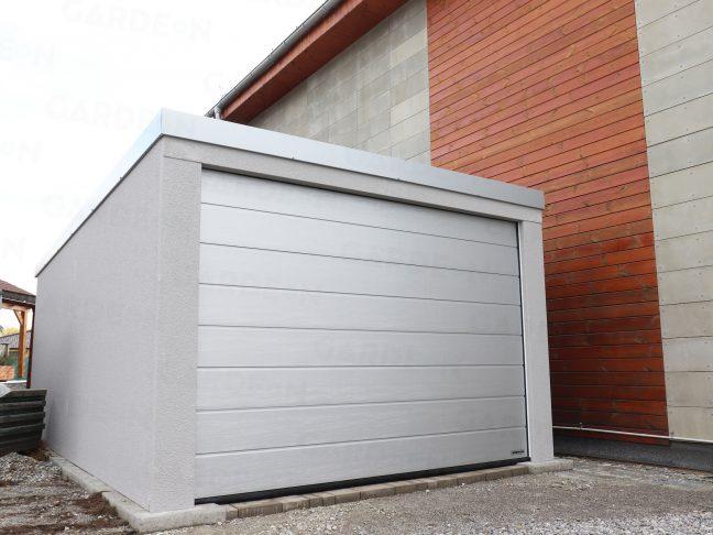 Eine 1-Auto-Garage in grau