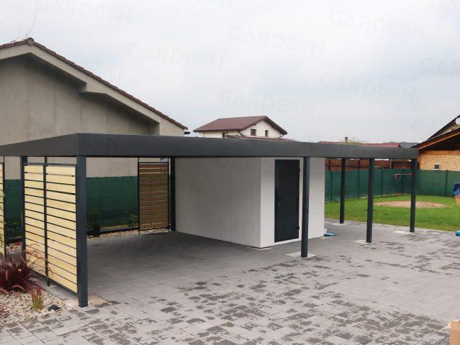 Ein Doppelcarport mit Gartenhaus
