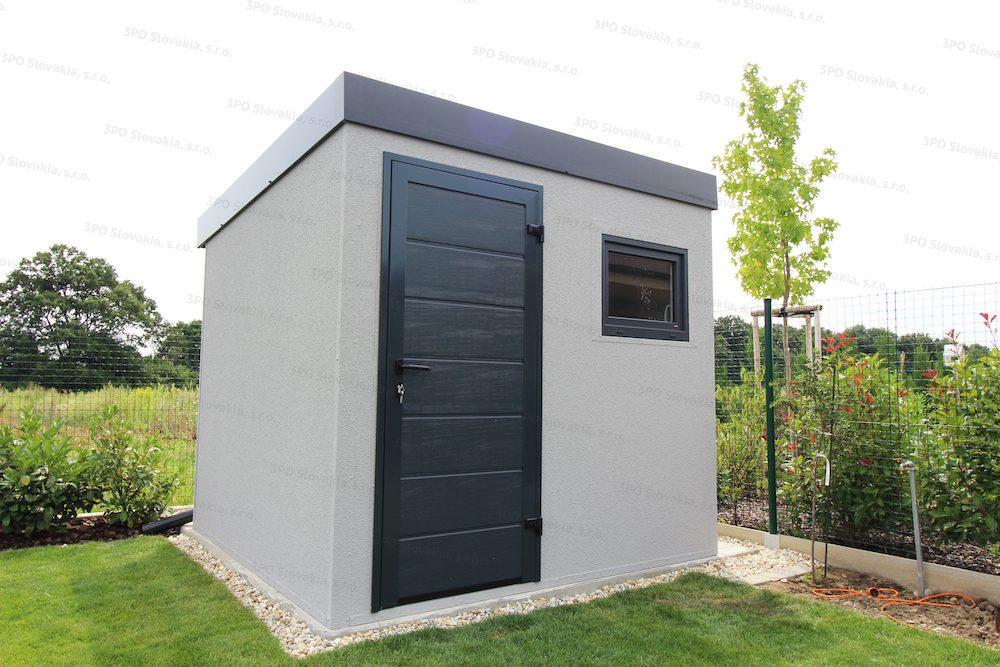 Ein modernes Gartenhaus in licht-grauem Putz