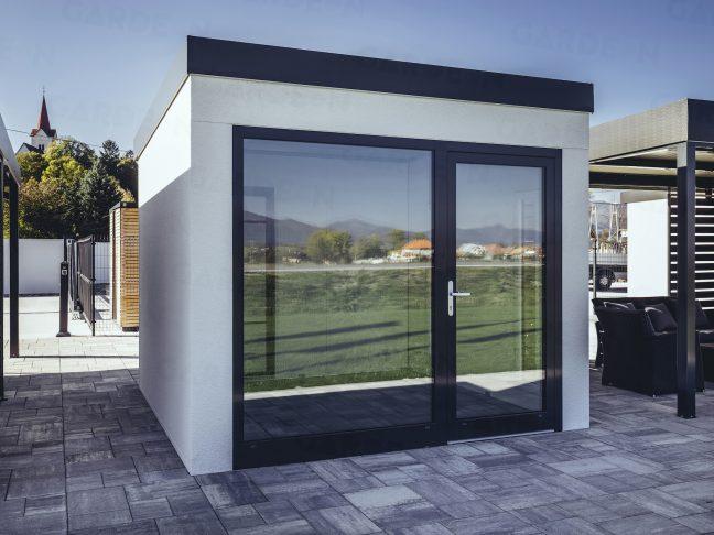 Ein moderne Häuschen mit großem Fenster