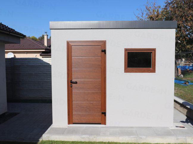 Ein Gartenhaus aus Stahl mit brauner Tür