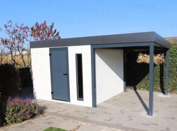 Ein Gartenhäuschen aus Stahl in weiß und mit Überdachung in grau