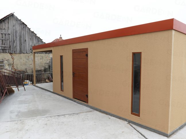 Ein atypisches Gartenhaus in beige