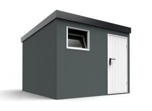 Ein modernes Gartenhaus in dunkel-grau mit einer weißen Tür