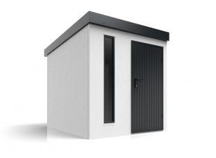 Ein modernes Häuschen mit Oberlicht und Türe