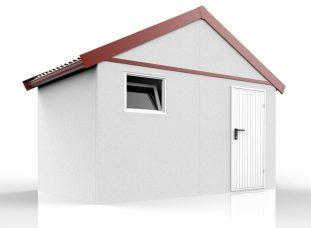 Ein Gartenhaus mit Satteldach in ziegelrot