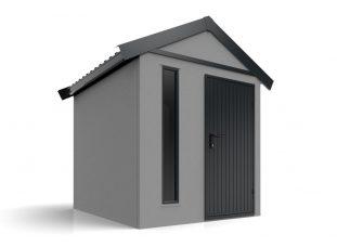 Ein graues Häuschen mit Satteldach