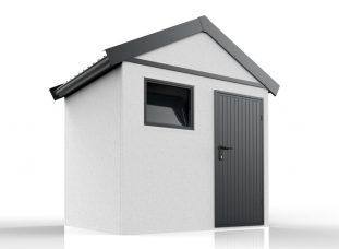 Ein modernes Gartenhaus mit Satteldach in anthrazit