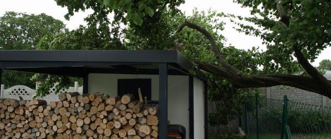 Ein Baum, der an das Gartenhaus von GARDEON gefallen ist