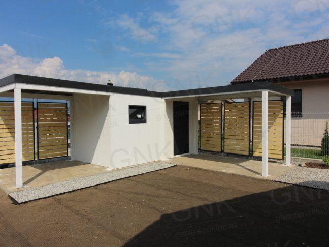 Ein modernes Gartenhaus mit Überdachungen in L-Form