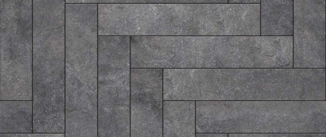 Ein Steinbelag aus rechteckigen Steinen