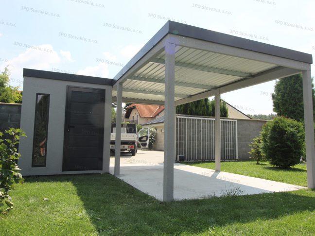 Ein Gartenhäuschen für Werkzeug in licht-grau mit einem Carport für 1 Auto