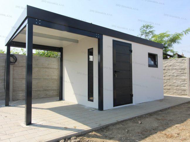Ein isoliertes Gartenhaus für die Lagerung von Werkzeug in weiß mit Überdachung in anthrazit