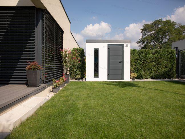 Ein modernes Gartenhaus für Fahrräder bei einem Familienhaus