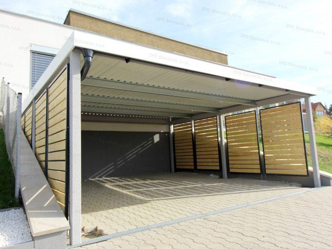 Design-Doppelcarport mit Wandausfüllungen bei einem modernen Haus
