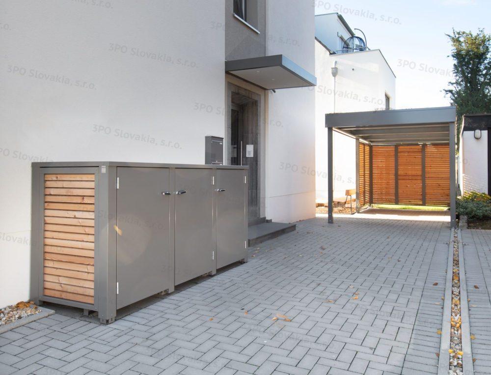Design-Carport von SIEBAU und Mülleimer