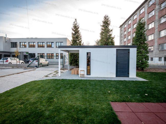 Ein Gartenhaus von GARDEON mit Überdachung