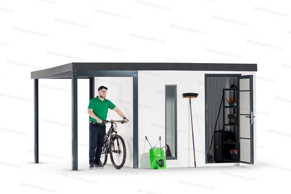 Ein Mann ist bei einem Häuschen mit weißem Putz mit einem Fahrrad