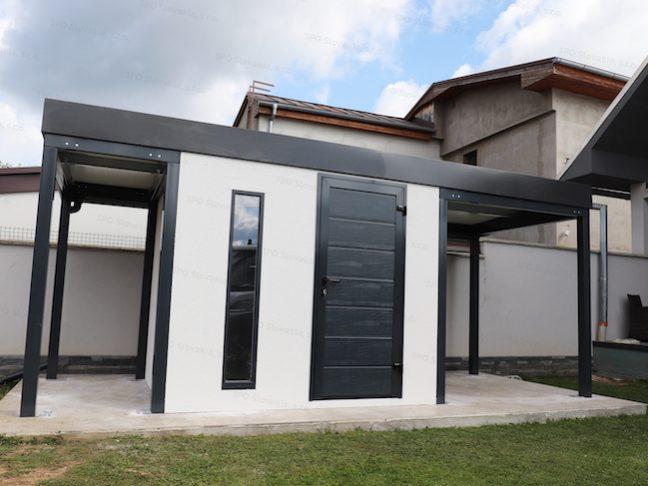 Ein montiertes Gartenhaus von GARDEON mit 2 Überdachungen in anthrazit
