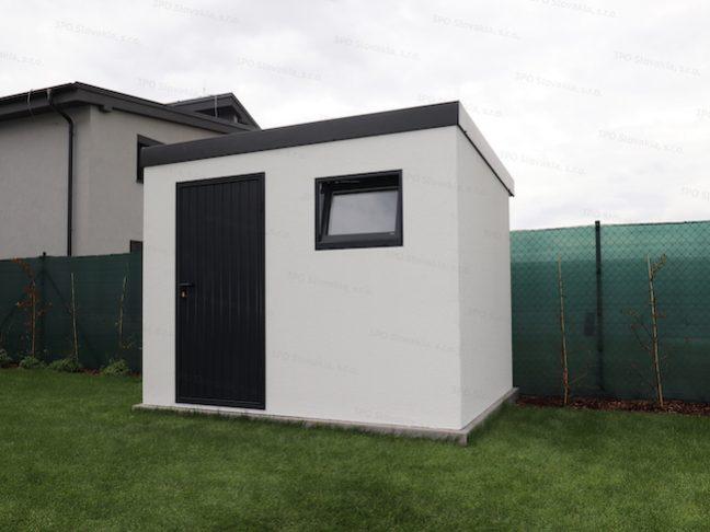 Ein weißes Gartenhäuschen von GARDEON mit Tür und Fenster in anthrazit