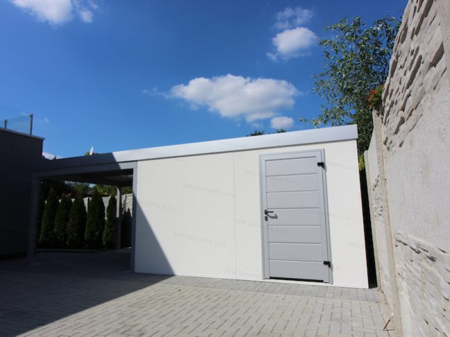 Ein weißes Gartenhaus von GARDEON mit Zubehör in der Farbe weißes Aluminium