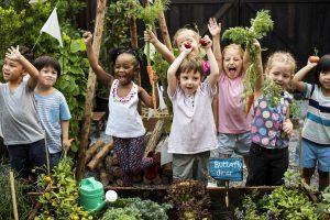 Kinder in einem Gemüsegarten