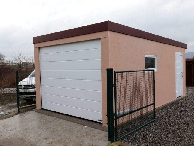 Eine montierte Garage von Gardeon mit Flachdach und weißen Zubehör