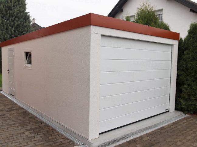 Eine Garage in weiß mit rotem Dach
