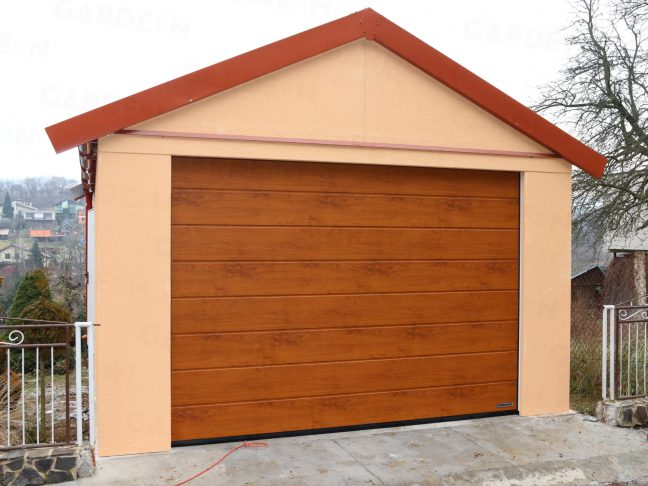 Eine 1-Auto-Garage von GARDEON mit einem Satteldach