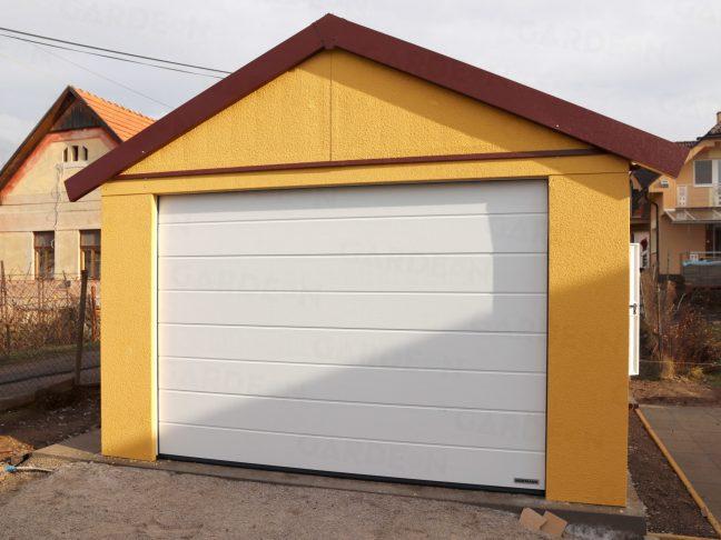 Eine montierte Satteldach-Garage in dunkel-gelb
