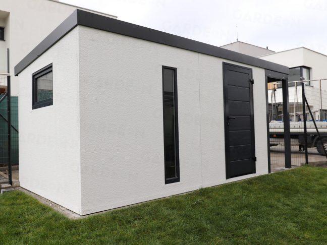 Ein Gartenhaus für Werkzeug in weiß