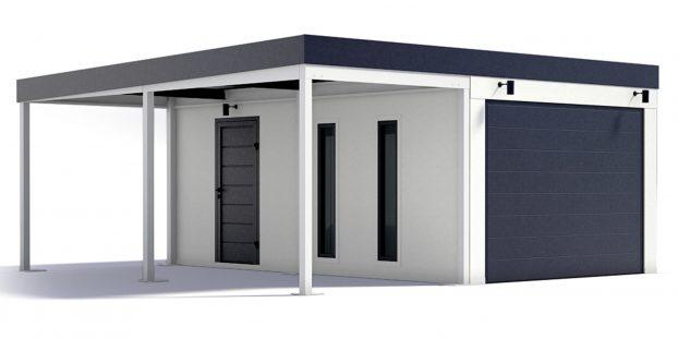 Eine Garage mit Carport