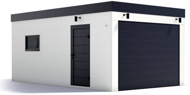 Eine Garage mit Pultdach