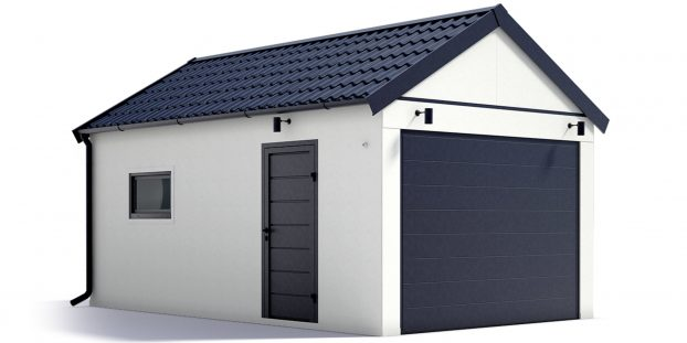 Eine Garage mit Satteldach