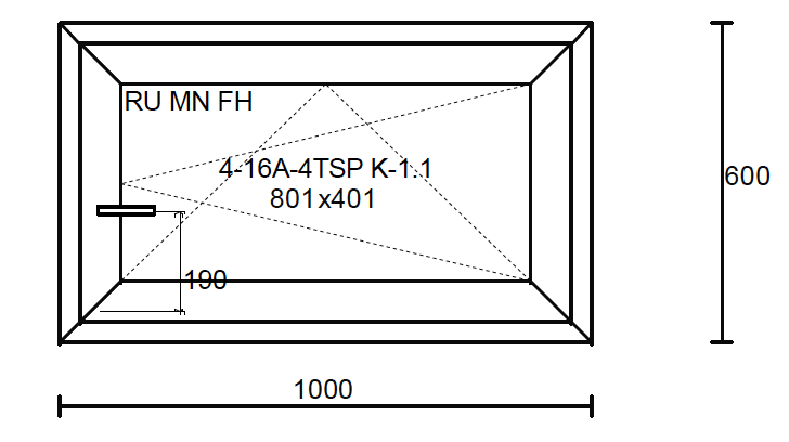 Konstruktionsmaße des Fensters 1000x600