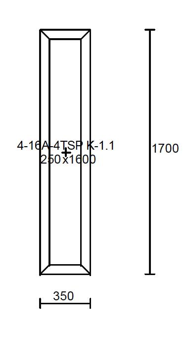 Konstruktionsmaße des Oberlichtes 350x1700