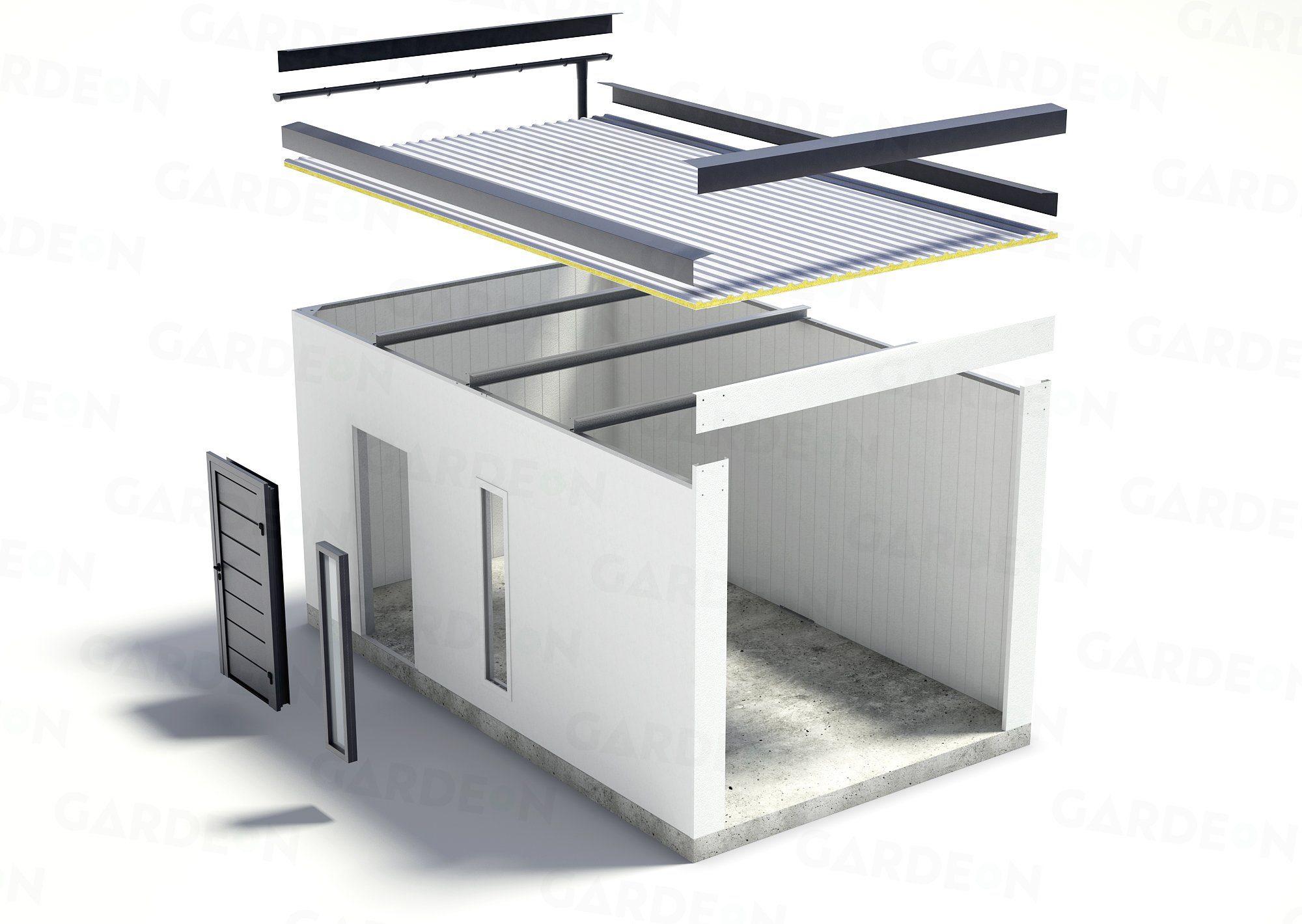 Visualisierung einer gedämmten 1-Auto-Garage